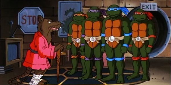 Splinter guides the Teenage Mutant Ninja Turtles